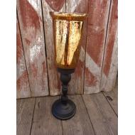 Iron Candle Holder w/ Amber Glass Hurricane