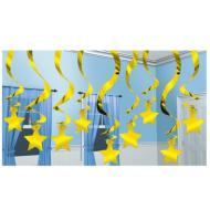 Swirl Decor-Shooting Stars-Gold-Foil-15pk-24''