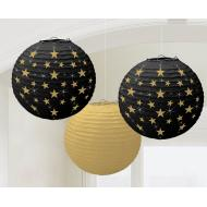 Paper Lanterns-Hollywood-Gold/Black/Stars-3pk/9.5''