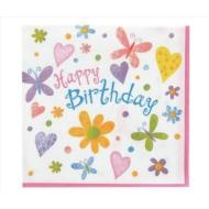 Napkins-LN-Happy Birthday Butterflies-16pkg-2ply
