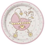 Plates-BEV-Baby Joy Pink-8pk-Paper - Discontinued