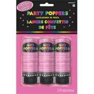 Confetti Poppers-Bright Pink-3pkg