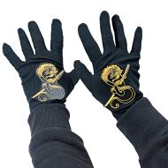 Costume Accessory-Black and Gold Ninja Gloves-1pkg