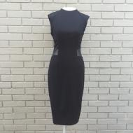 Eco Leather Trim Zip Back Black Dress