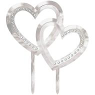 Cake Topper-Double Heart-Electroplated Plastic-w/Gems-5''