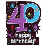 Cutouts-40th Birthday-w/Glitter-11.75'' x 14.5''