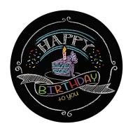 Plates-BEV-Chalk Birthday-8pk-Paper - Discontinued