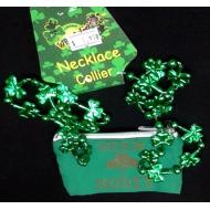 Necklace-St. Patrick's Day Clovers with Beer Money Pouch-1pkg