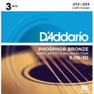 D'Addario EJ16-3D Phosphor Bronze Acoustic Guitar                                   Strings, Light,