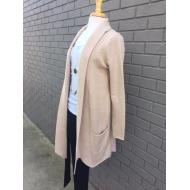 Sip Knit Beige Long Cardigan