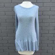 Thermal and Rib Hem Pullover Chambray Blue
