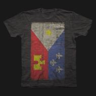 Acadian Flag Tri Black Mens Tee