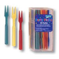 Mini Picks-Plastic-Assorted Colour Forks-30Pkg-3.5""