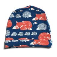 Baby Hat - Foxes & Hedgehogs/Navy & Orange