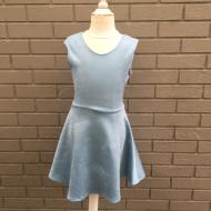 Light Blue Suede Fit and Flare Dress