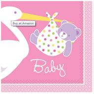 Napkins-BEV-Baby Girl Stork-16pk-2ply - Discontinued