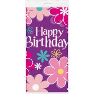 "Plastic Tablecover- Birthday Blossom- 1pc/54""x84"""