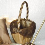 Flower Girl Basket-Bronze and Brown-1pkg-10""