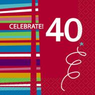 Beverage Napkins- 40th Birthday Celebration- 16pk/2ply