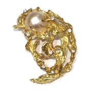 Estate Mabe Pearl and Diamond 18kt Yellow Gold Pin