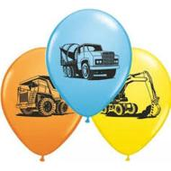 Latex Balloons - Construction Trucks Assorted - 11""