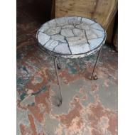 Iron Stone Top Side Table