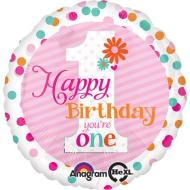 Foil Balloon - 1st Birthday - Happy Birthday You're One - Pink Stripe - 18""
