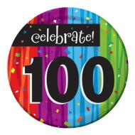Plates-BEV-Milestone Celebrations 100th-8pkg-Paper - Discontinued