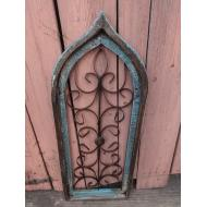 Medium Turquoise Iron and Wood Gothic Window Panel