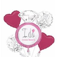 Foil Balloon Bouquet - I Do Elegant Pink Wedding - 5 Balloons - 2.25ft