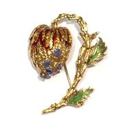 Estate 14kt Yellow Gold Enamel and Sapphire Pin