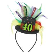 Fascinator-40th Birthday-Fabric-w/Feather & Ribbon