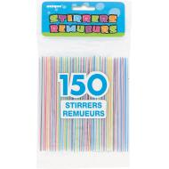 Stirrers-Plastic-Assorted Striped Colors-150pkg-5""