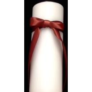 Candle-White-Caramel Ribbon-10''