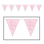 Pennant Banner-Plastic-It's a Girl-1pkg-12ft