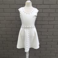 White Suede Studded Dress