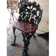 Small Green Wrought Iron Floral Chair
