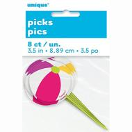 Picks- Beach Ball- 8pk/3.5""