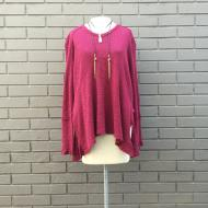 Seamed V-Neck Pullover Cranberry
