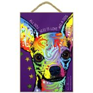 Russo Sign-Chihuahua - All you need is love and a dog (purple background)