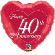 Foil Balloon - 40th Anniversary Heart - 18""