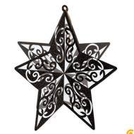Hanging Decoration-3D-Black Glittered Star-1pkg-12""