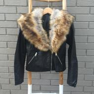 Brit Fur Collar Leather Jacket Black