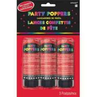 Confetti Poppers-Red-3pkg