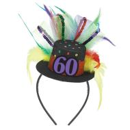 Fascinator-60th Birthday-Fabric-w/Feather & Ribbon