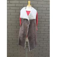 Long Frosty Tipped Shearling Vintage Vest Grey Brown