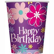 Paper Cups- Birthday Blossom- 8pk/9oz - Discontinued