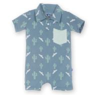 Dusty Sky Cactus Polo Romper w/ Pocket
