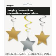3 Hanging Stars Decorations