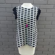 Black White Diamond Embroidered Top